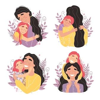 Mulher jovem e bonita e sua filha encantadora. a menina abraça a mãe e sorri. ilustração em estilo moderno.
