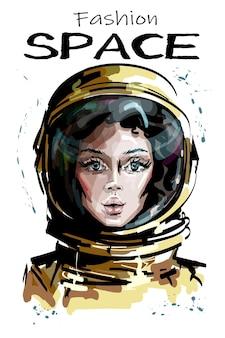 Mulher jovem e bonita em traje espacial