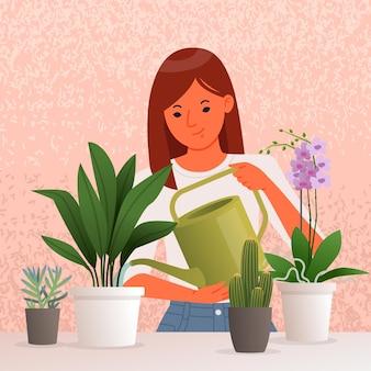 Mulher jovem e bonita regando as plantas de casa. cuidar de plantas de interior. passatempo.