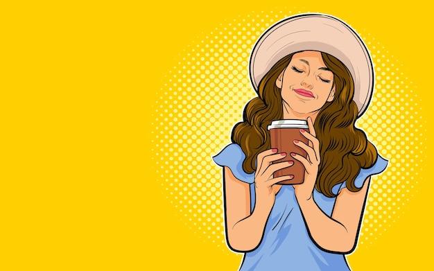 Mulher jovem e bonita tomando café ou chá estilo de vida saudável estilo pop arte retrô em quadrinhos