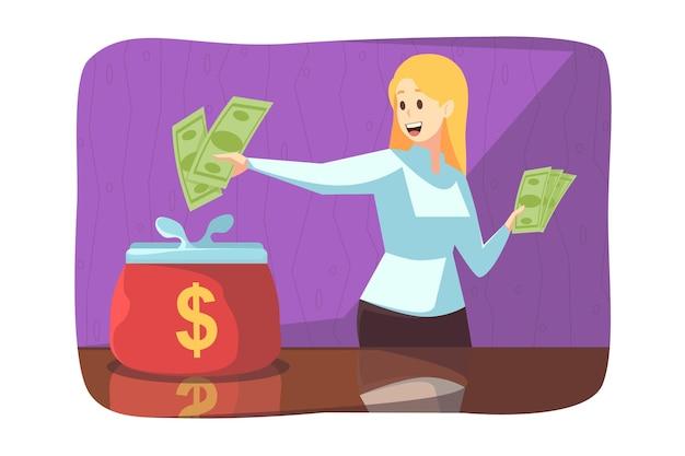 Mulher jovem e feliz fazendo pagamento de investimento financeiro e colocando dólares em dinheiro em uma carteira grande