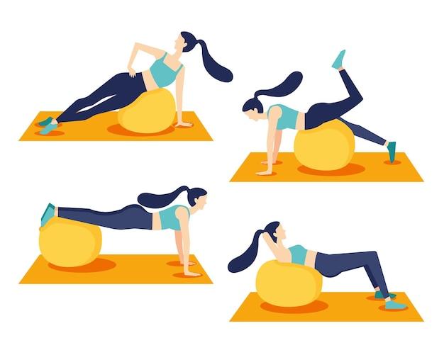 Mulher jovem e saudável praticando ioga na sala de estar, relaxante fim de semana em casa. ilustração vetorial.