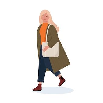 Mulher jovem elegante com um casaco, botas com uma bolsa. estilo simples dos desenhos animados.