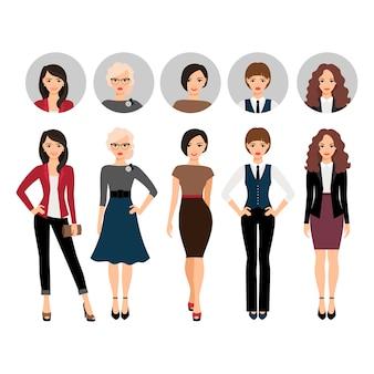 Mulher jovem, em, diferente, estilo, roupas