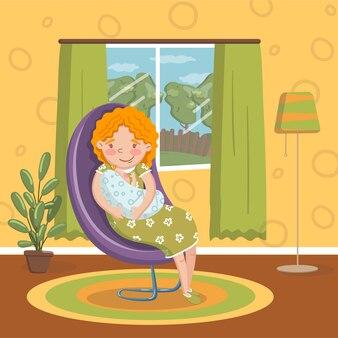 Mulher jovem em roupas casuais, sentado na cadeira com bebê recém-nascido, quarto interior estilo vintage em casa ilustração
