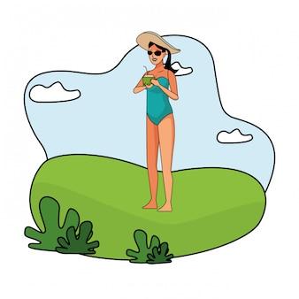 Mulher jovem, em, swimsuit, caricatura