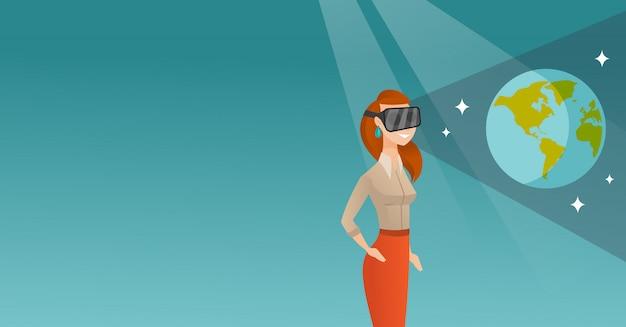 Mulher jovem, em, vr, headset, obtendo, em, espaço aberto