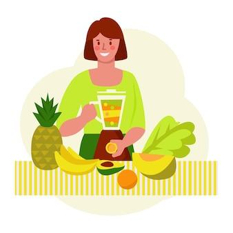 Mulher jovem faz um smoothie. conceito de vetor de comida saudável. estilo simples.