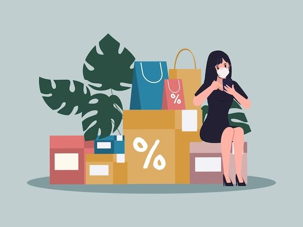 Mulher jovem fazendo compras online e serviço de entrega durante o surto do vírus covid19