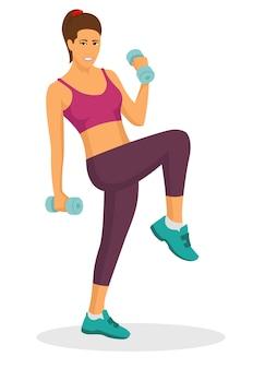 Mulher jovem, fazendo, exercício, usando, dumbbell