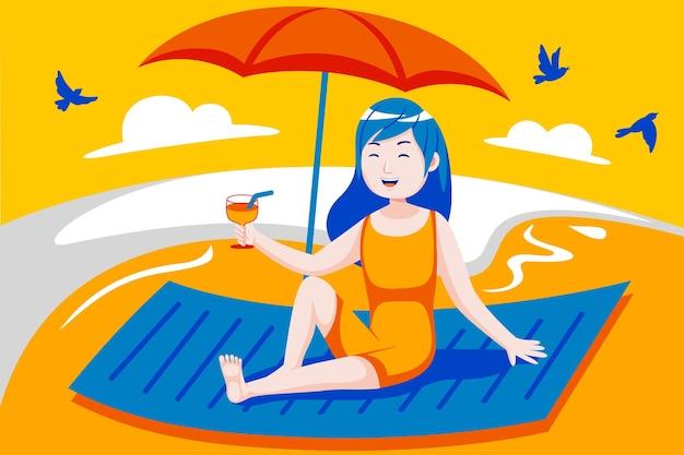 Mulher jovem feliz gosta de beber na praia.