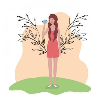 Mulher jovem, ficar, com, paisagem, ilustração