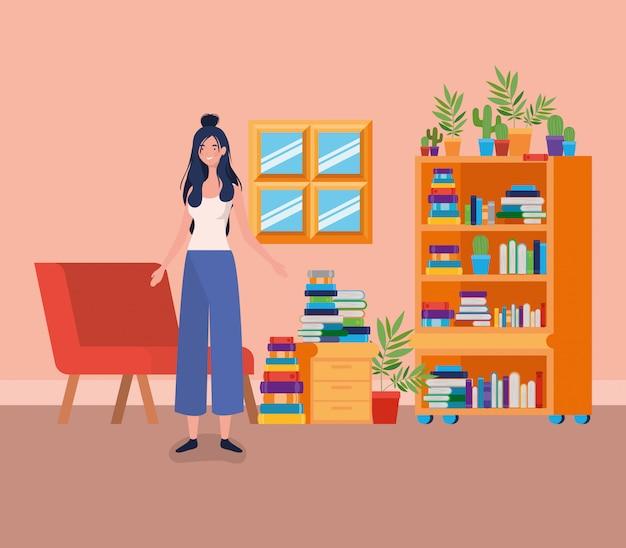 Mulher jovem, ficar, em, a, biblioteca, sala
