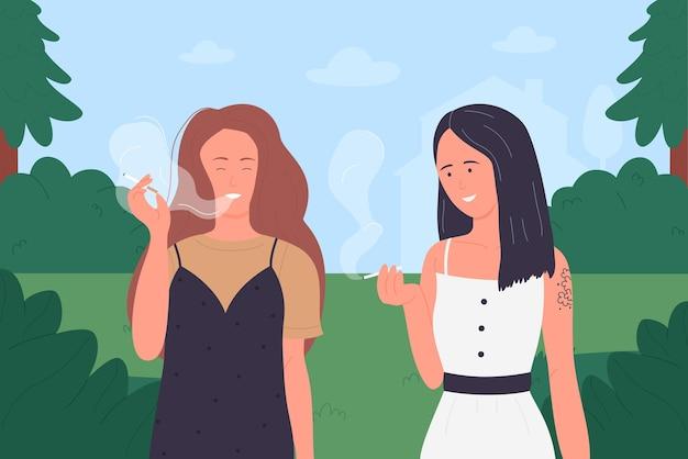 Mulher jovem fumando cigarros