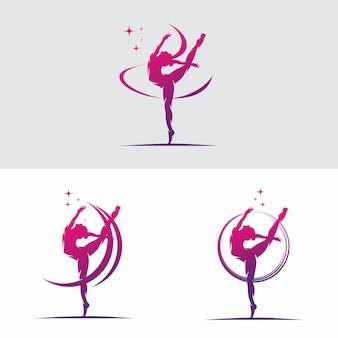 Mulher jovem ginasta dançando com logotipo da fita