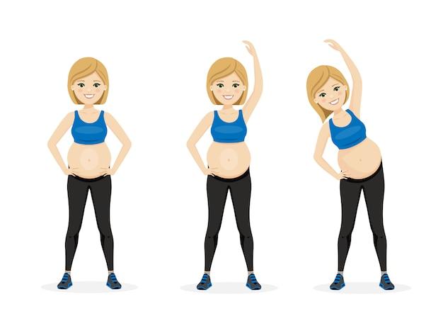 Mulher jovem gravidez. estilo de vida saudável de aptidão. exercício pré-natal.