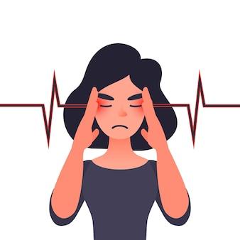 Mulher jovem infeliz com forte dor de cabeça enxaqueca, problemas de saúde e dor de cabeça