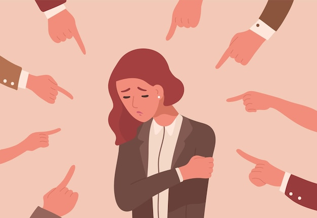 Mulher jovem infeliz rodeada por mãos com os dedos indicadores apontando para ela.