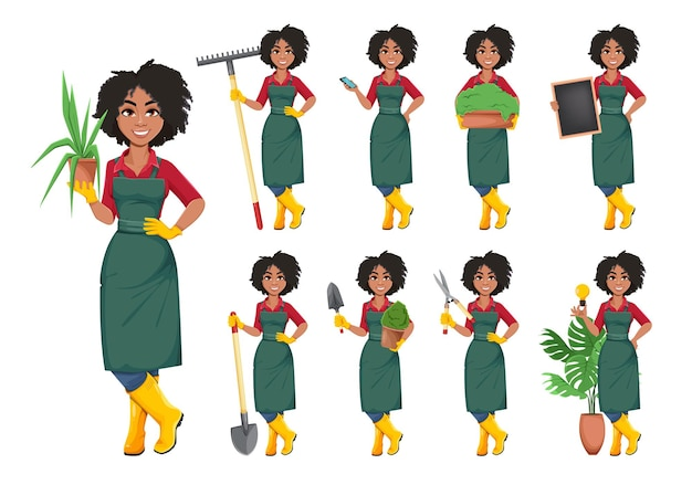 Mulher jovem jardineiro afro-americano das ações do vetor, conjunto de nove poses. bela senhora agricultora personagem de desenho animado