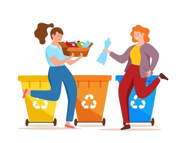 Mulher jovem jogando lixo de plástico em recipientes de ilustração vetorial