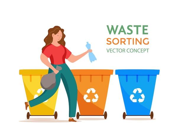 Mulher jovem jogando lixo de plástico em recipientes ilustração vetorial gerenciamento de resíduos