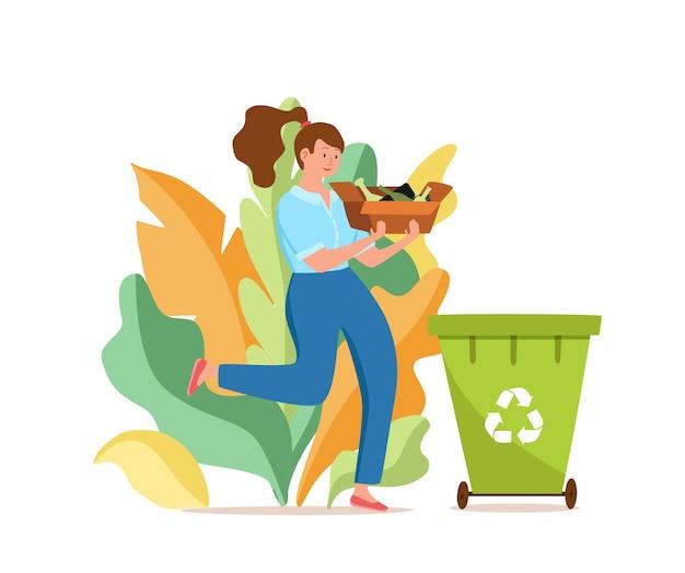 Mulher jovem jogando lixo de vidro em recipientes ilustração vetorial resíduos