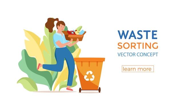 Mulher jovem jogando lixo plástico em recipientes. conceito de gerenciamento de resíduos com uma garota ecologicamente correta separando os resíduos em diferentes tanques