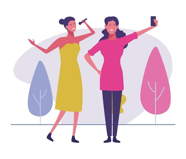 Mulher jovem, levando, selfie, com, cantor