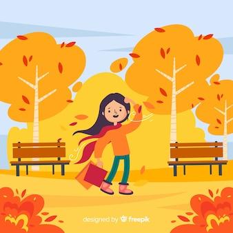 Mulher jovem, ligado, outono, parque