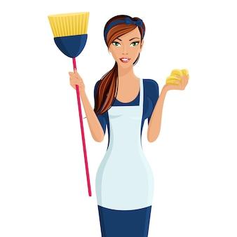 Mulher jovem, limpador