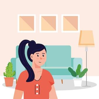 Mulher jovem na cena da sala de estar.