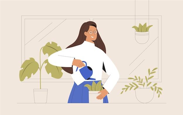 Mulher jovem na varanda cultivando flores ou plantas verdes em um vaso