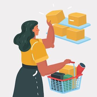 Mulher jovem no supermercado