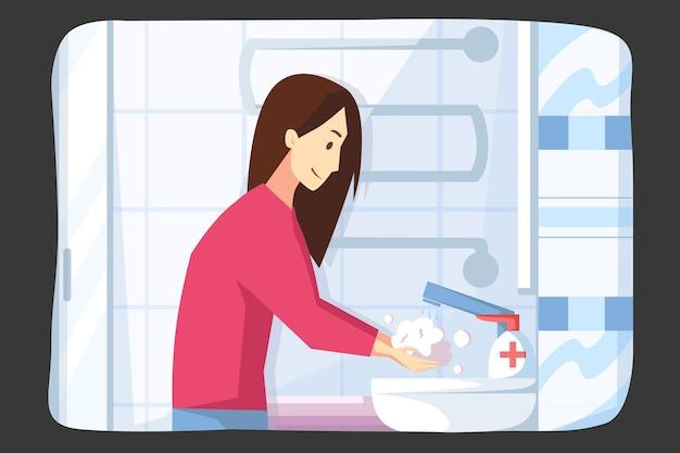 Mulher jovem ou menina lavando as mãos com sabonete e desinfetante contra infecção covid19
