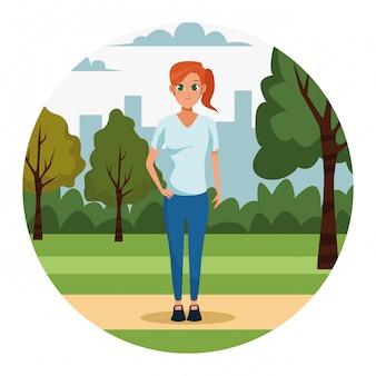 Mulher jovem, parque