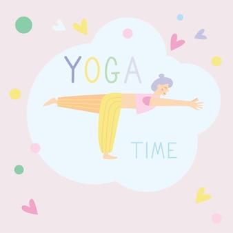 Mulher jovem pratica ioga. prática física e espiritual. ilustração vetorial no estilo cartoon plana. estilo de vida saudável do esporte das mulheres, treino de pilates.