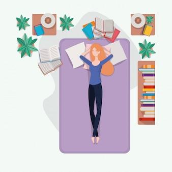 Mulher jovem, relaxante, em, colchão, em, a, quarto