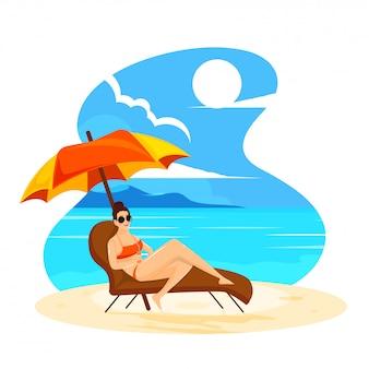 Mulher jovem, relaxante, ligado, cadeira praia, para, verão, férias, desenho