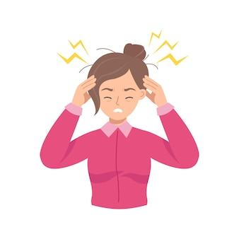 Mulher jovem segura a cabeça por causa de uma doença ou estresse no trabalho.