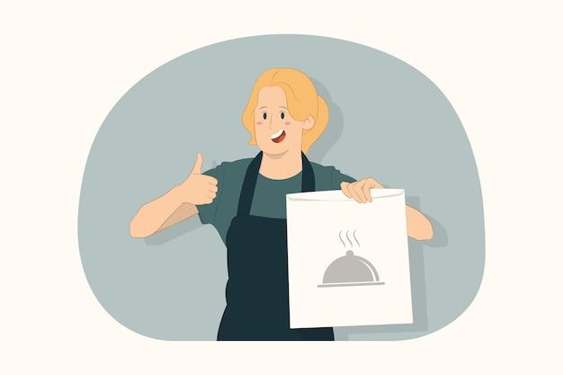 Mulher jovem segurando conceito de comida de saco de papel artesanal vazio marrom