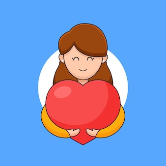 Mulher jovem sorridente abraçando calorosamente o coração para expressar amor, afeto e ilustração de contorno de celebração do dia do coração