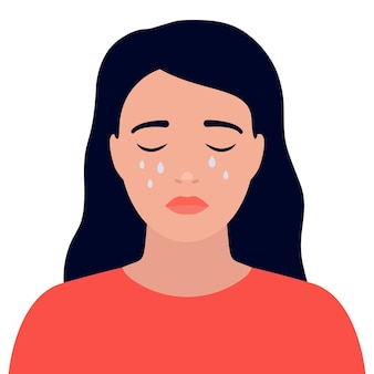 Mulher jovem triste chora e está estressada rosto com lágrimas garota sofrendo de depressão desespero chateada