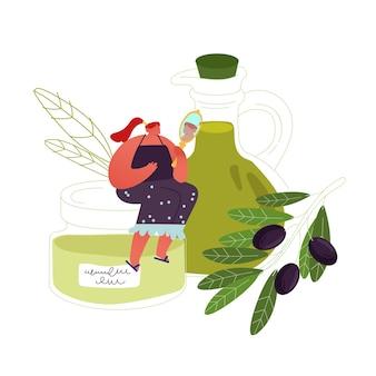 Mulher jovem usa azeite de oliva em cosméticos, cuidados de beleza e finalidades culinárias.