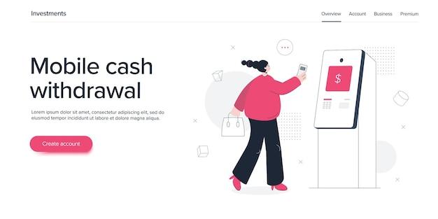 Mulher jovem usando cartão de crédito com caixa eletrônico
