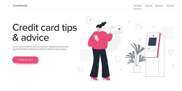 Mulher jovem usando cartão de crédito no caixa eletrônico