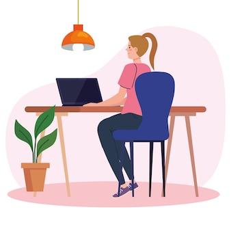 Mulher jovem usando laptop na mesa, trabalhando ilustração online