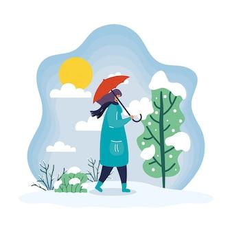 Mulher jovem usando máscara médica em cena de inverno