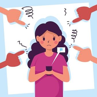 Mulher jovem vítima de cyber bullying com as mãos atacando