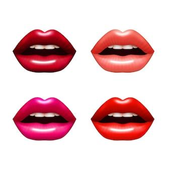 Mulher lábios conjunto realista com ilustração vetorial de coloração brilhante isolado