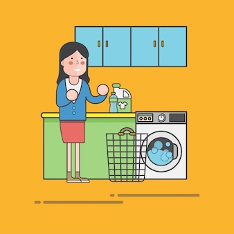 Mulher, lavanderia, vetorial